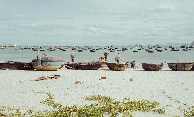 Vietnam basket boat on the beach