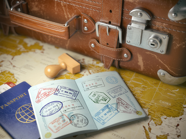 passport with visa stamp